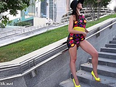 dark Hair, in Heels, long Legs, outdoors, Exhibitionism, Pussy Public Fucked, Street Sex, upskirts, Perfect Body