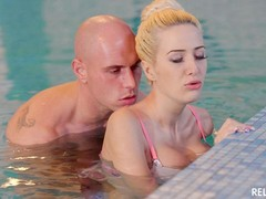 Puffy Tits, Blonde, Cum in Throat, Cum on Tits, fucks, Passionate Real Sex, Perfect Booty, Pool, Romanian Couple, Sperm Inside, Huge Tits, Girl Boobies Fucked