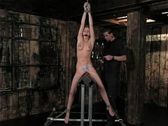 BDSM, tied, Deep Dildo, Dominant Fuck, Fetish Dungeon, Fetish, toying, Belly, Curly Hair, Perfect Body